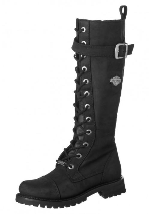 Botte Moto Harley Davidson Savannah en cuir noir (Ref : D81489) Femmes Boots Motard